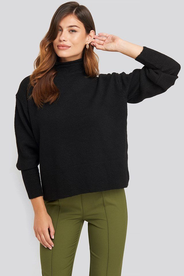 Turtleneck Oversized Knitted Sweater Black