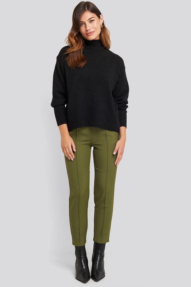 Turtleneck Oversized Knitted Sweater Black
