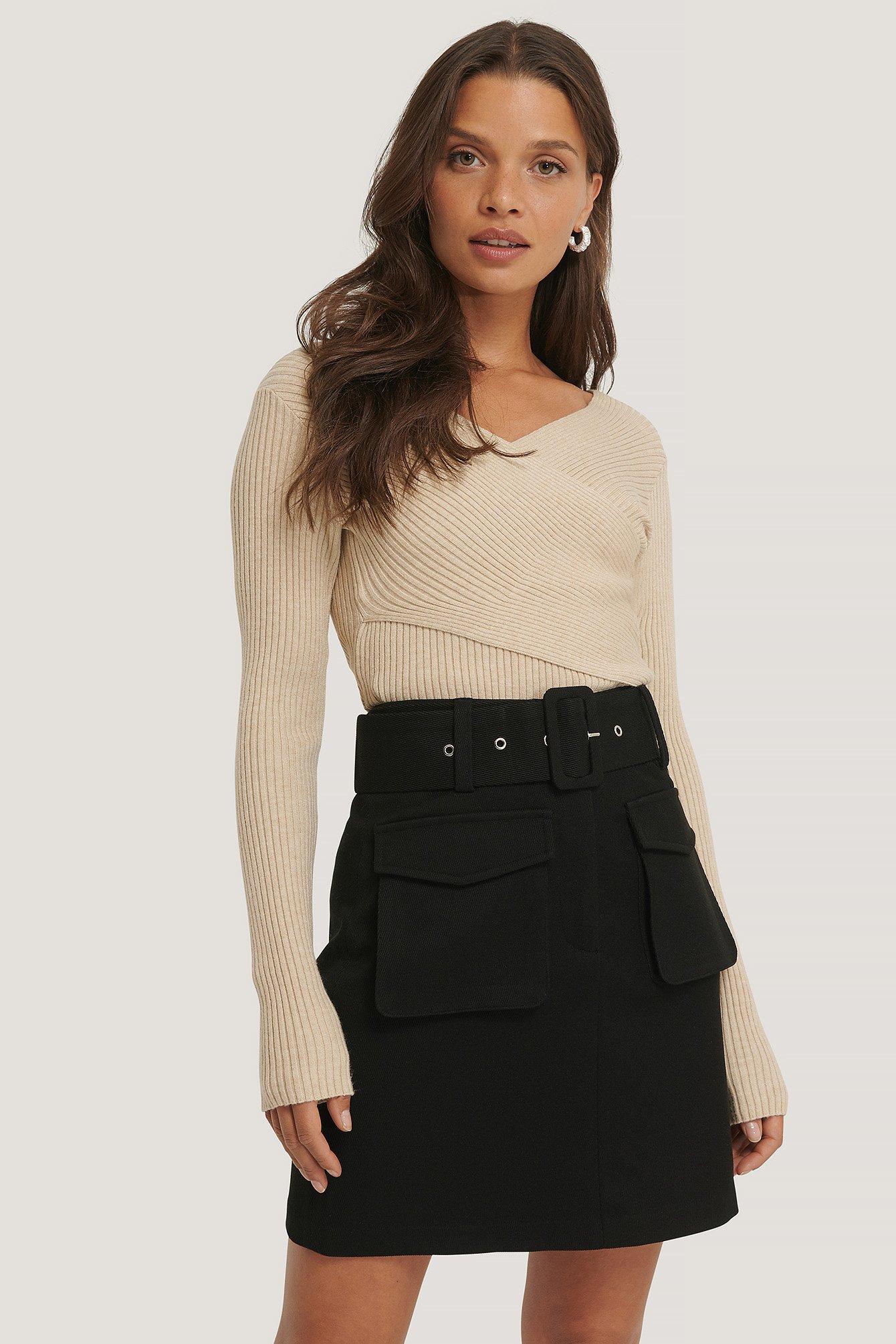 NA-KD Trend Nederdel Med Bælte Og Lomme - Black
