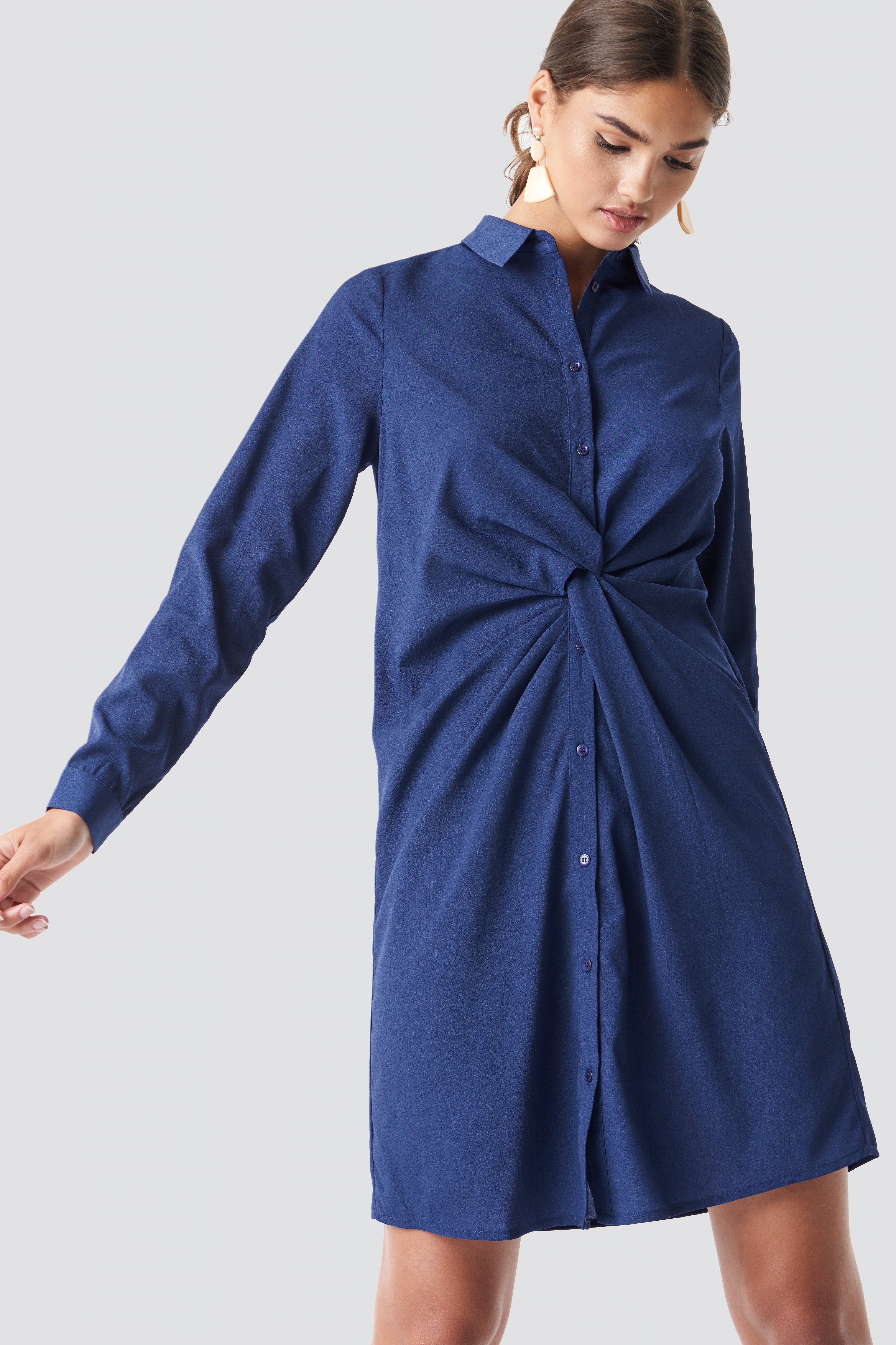Twist Detail Shirt Dress NA-KD.COM