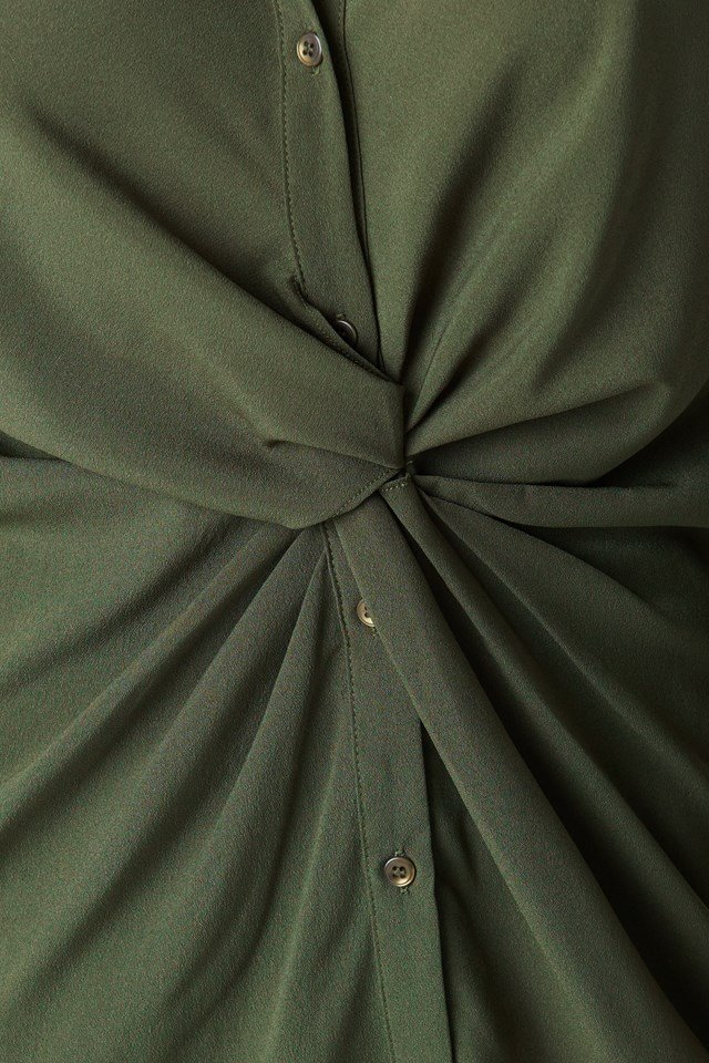 Twist Detail Shirt Dress Khaki Green