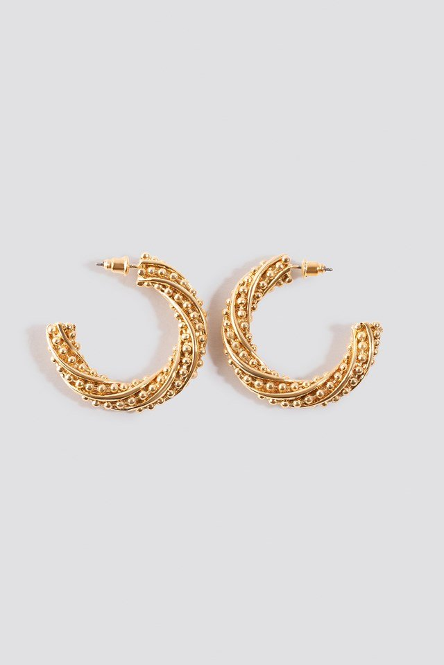 Twist Detailed Thick Hoop Earrings Gold
