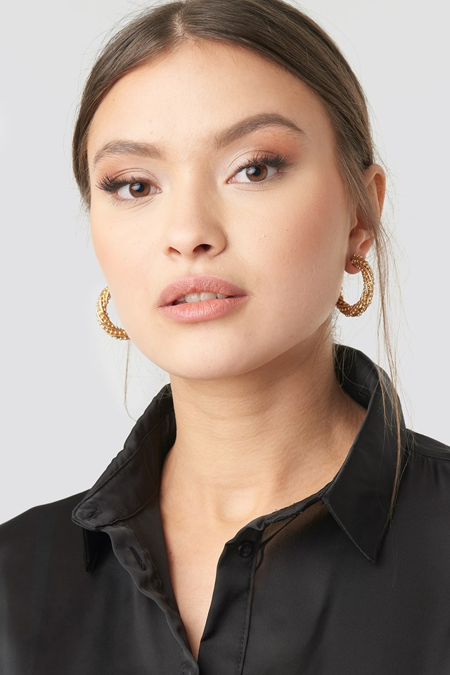 Twist Detailed Thick Hoop Earrings NA-KD Accessories