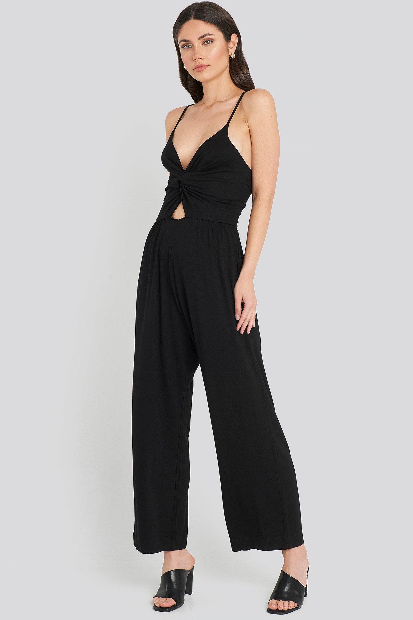 na-kd -  Twist Front Cami Jumpsuit - Black
