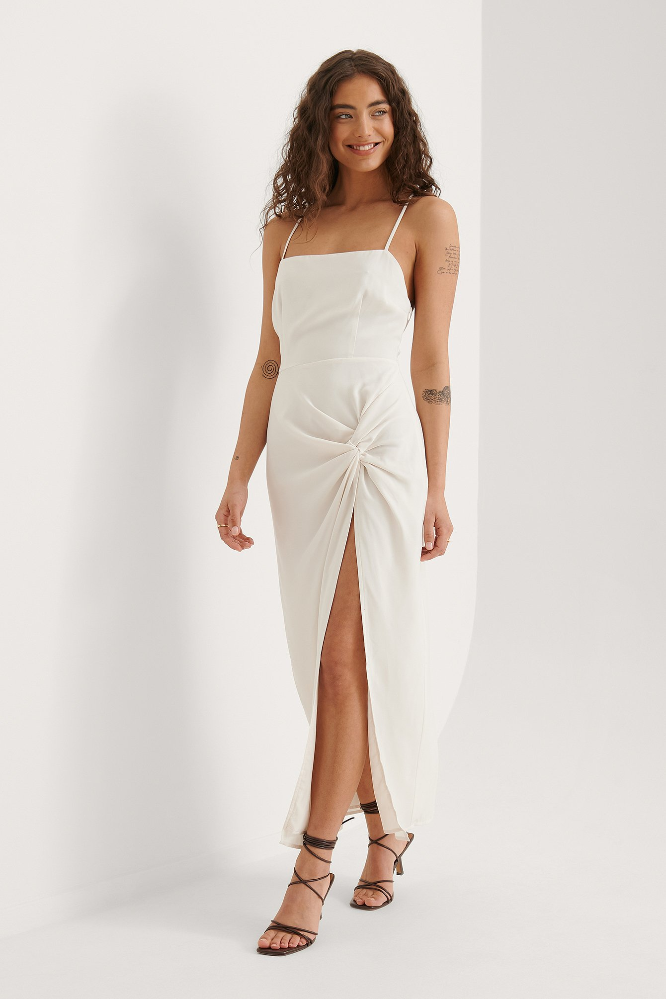 Offwhite Recycled Twist Front High Slit Dress