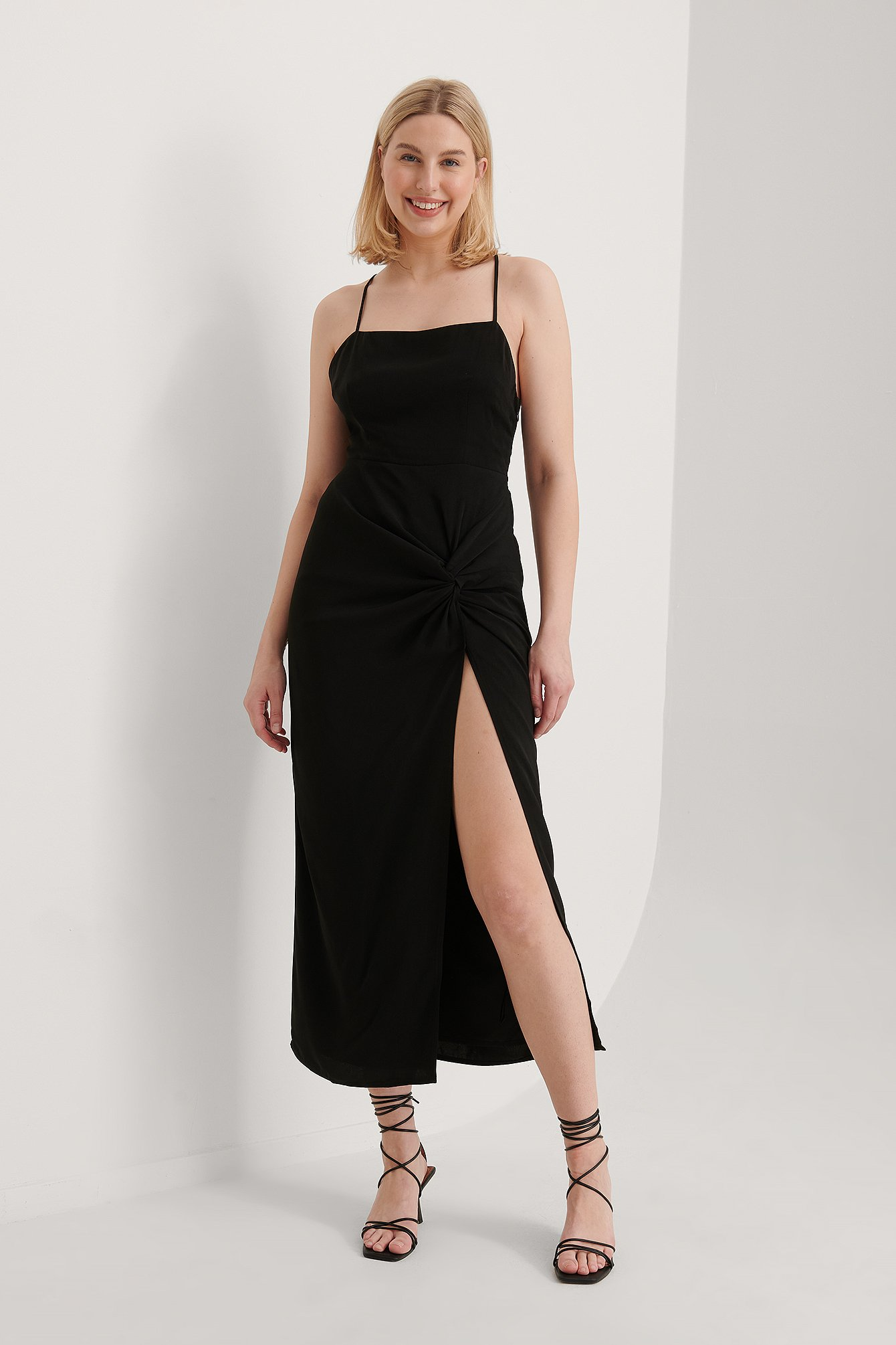 Black Recycled Twist Front High Slit Dress