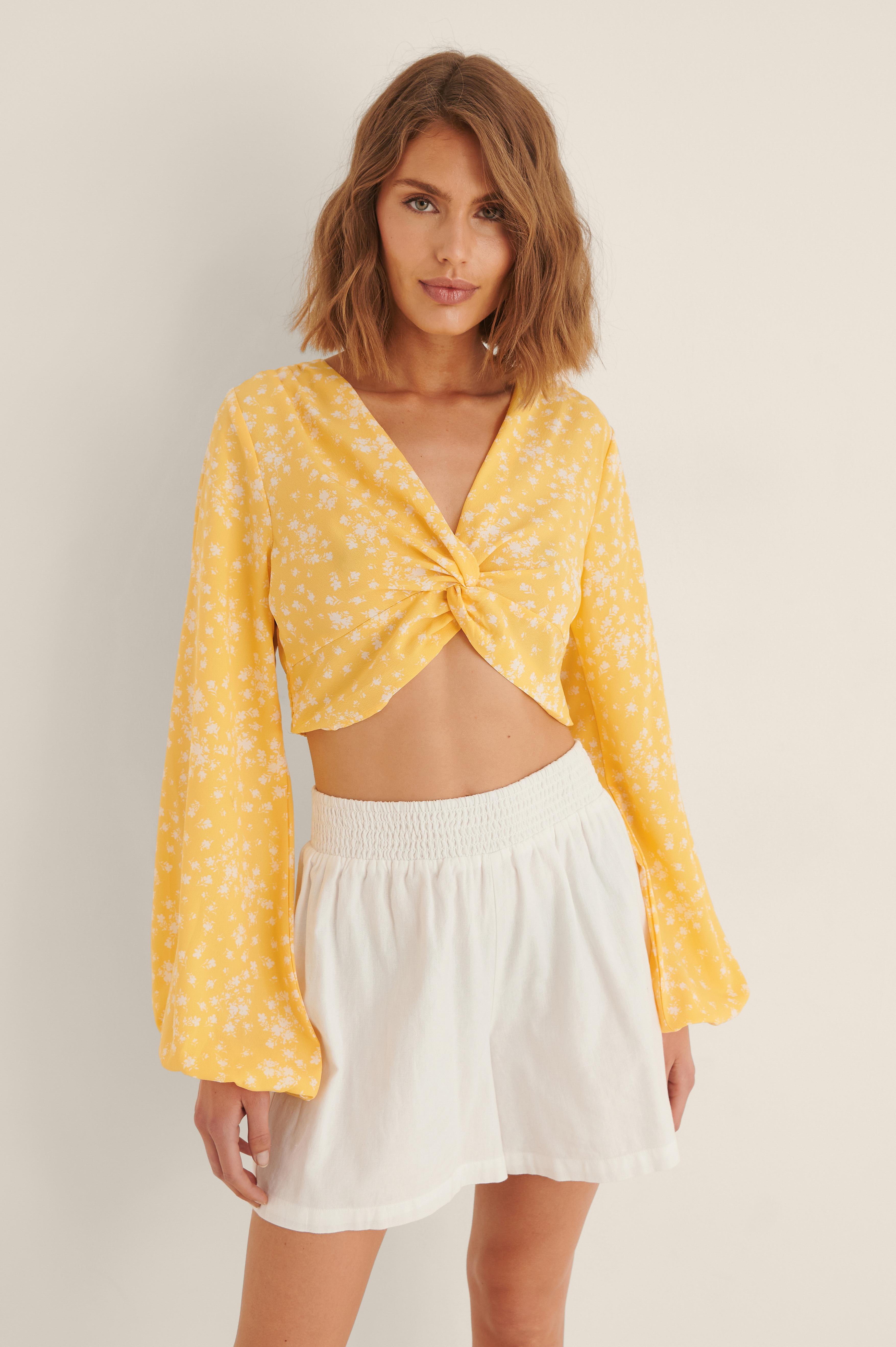 Na-kd Twist Front Long Sleeve Blouse - Yellow