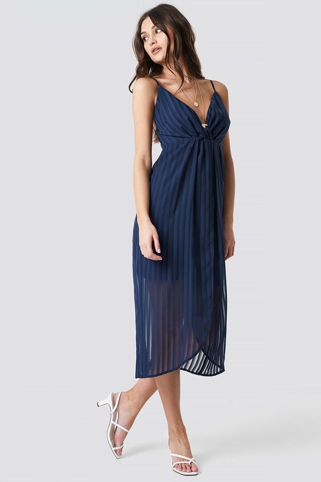 Twist Front Strap Dress Dark Blue