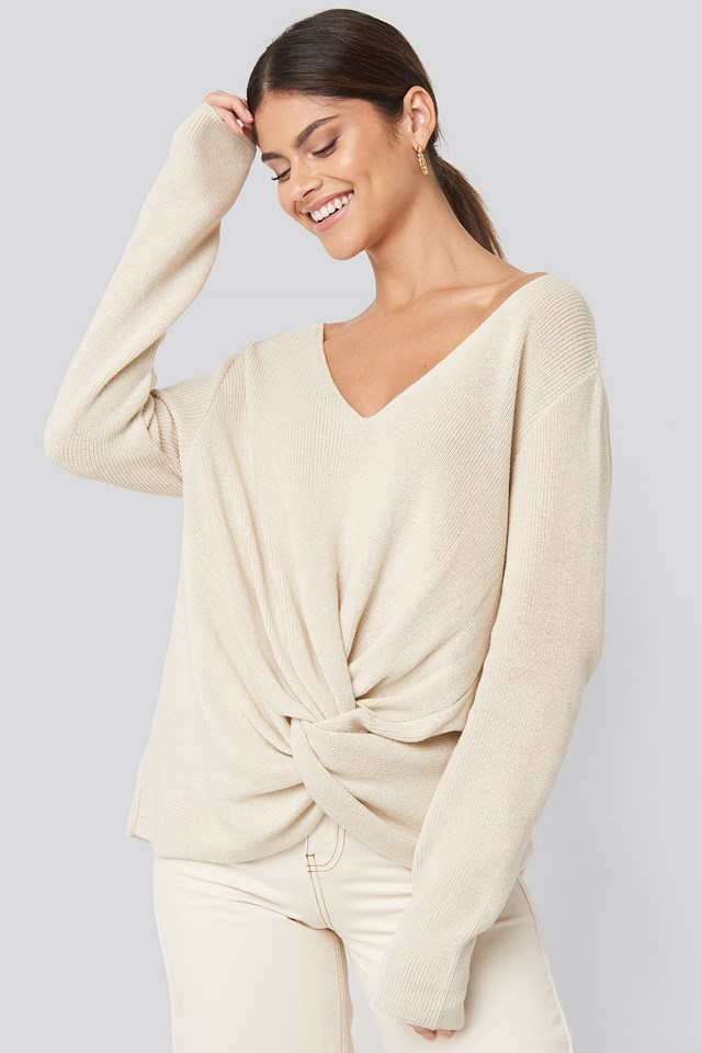 Twist Front Sweater Beige