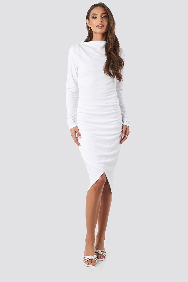 Twist Wrap Dress White