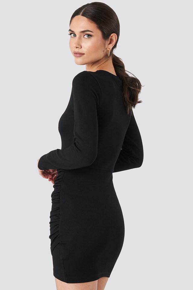 Twist Wrap Jersey Dress Black