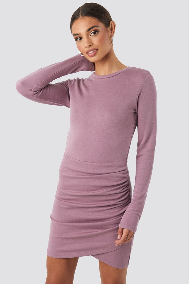 Twist Wrap Jersey Dress Purple