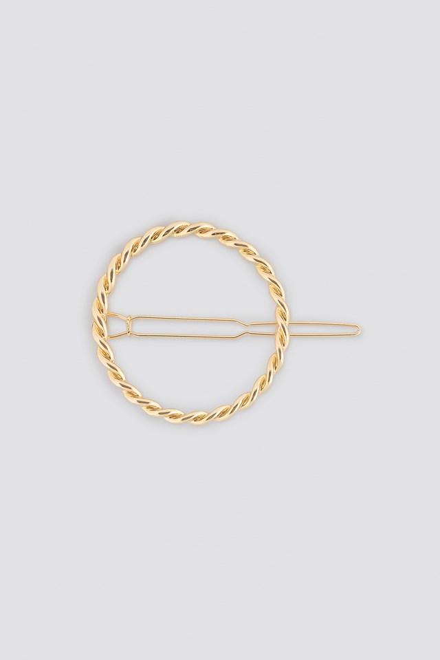 Twisted Circle Hairclip Gold