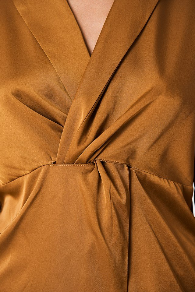 Twisted Front Blouse Golden Brown