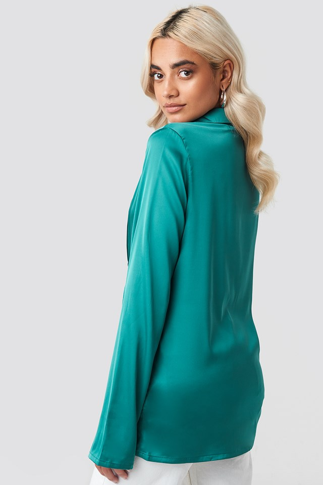 Twisted Front Blouse Dark Green