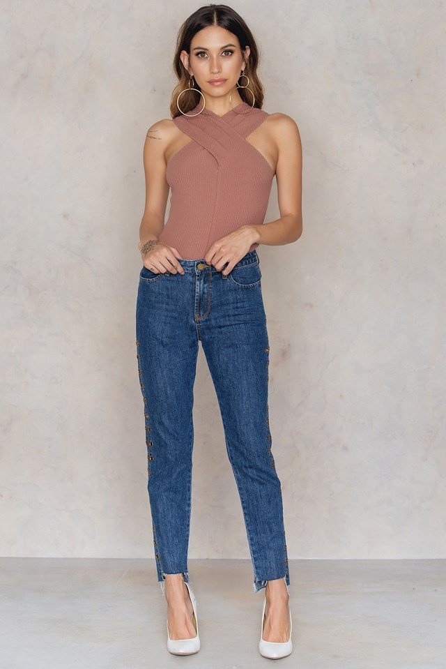 Twisted Front Rib Jersey Top Dusty Dark Pink