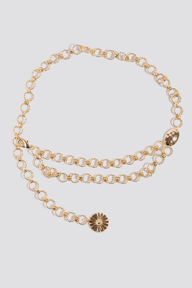 Twisted Links Chain Belt Gold