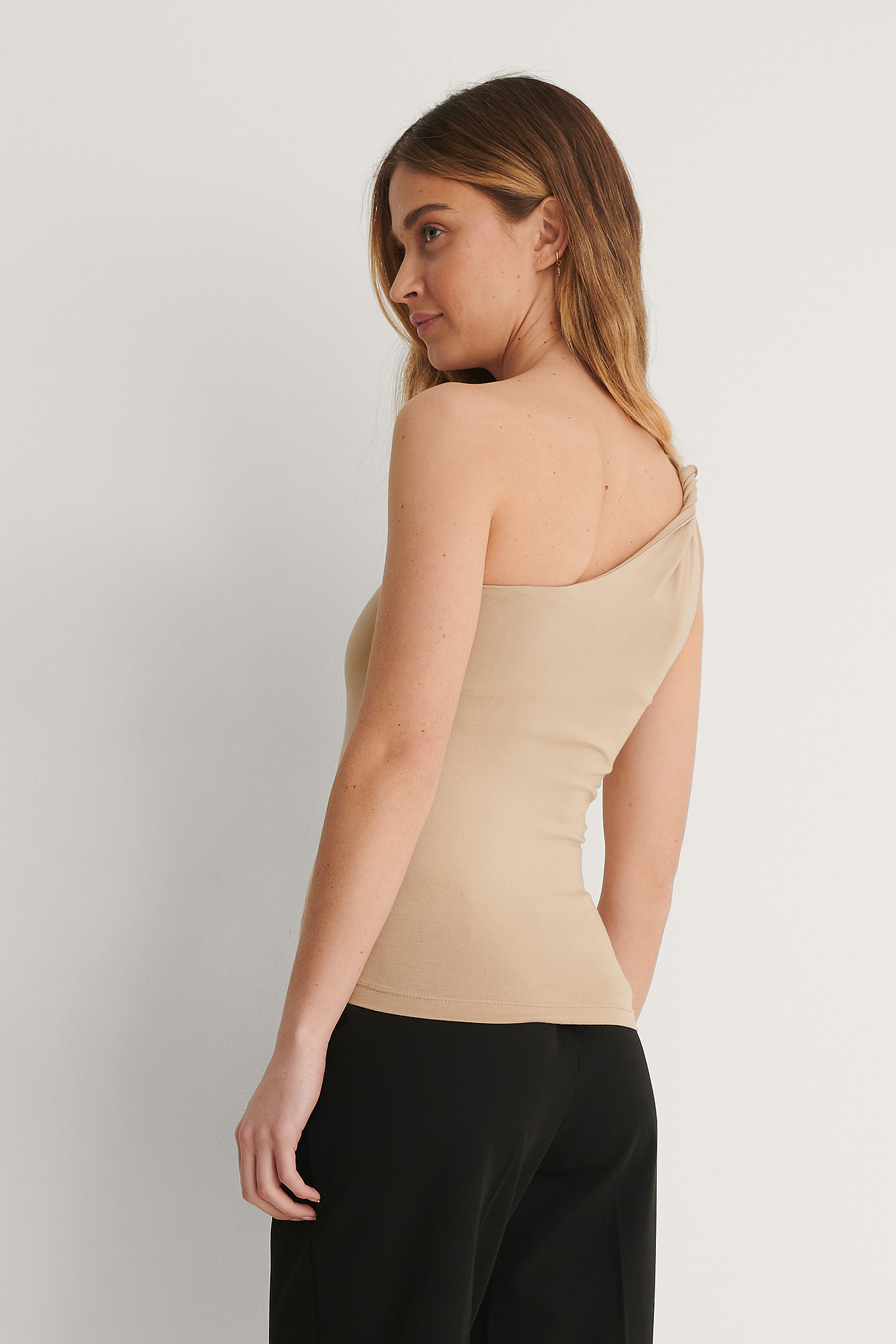 Taupe Beige Twisted One Shoulder Top