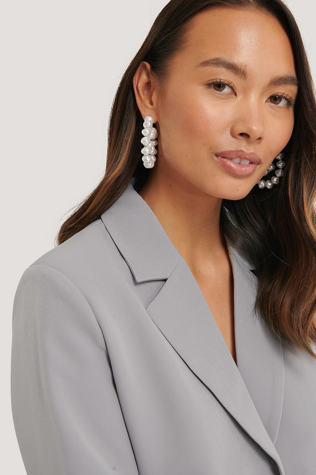 na-kd accessories -  Twirled-Perlenohrringe - White