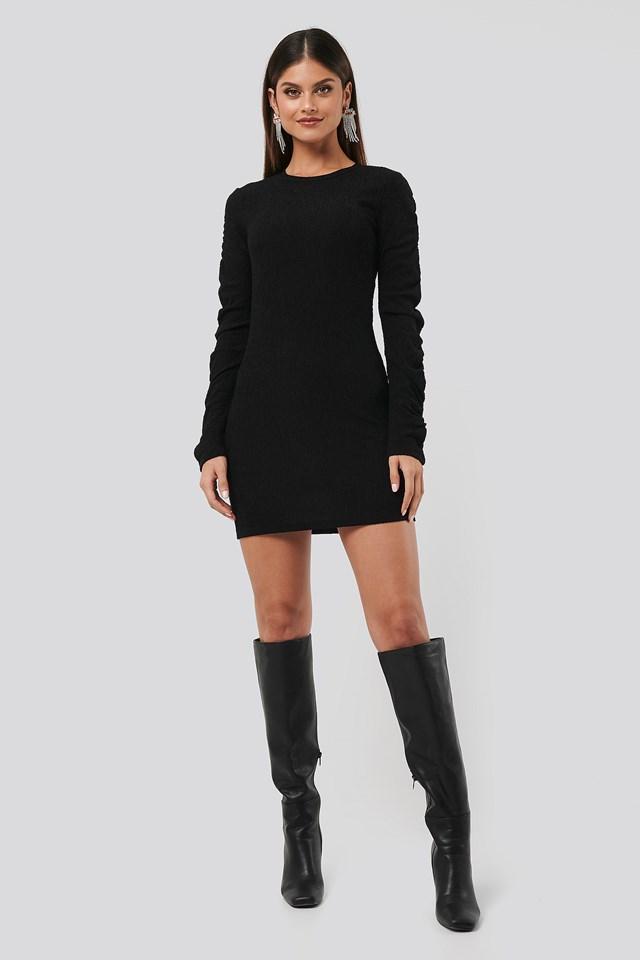 Twisted Sleeve Dress Black