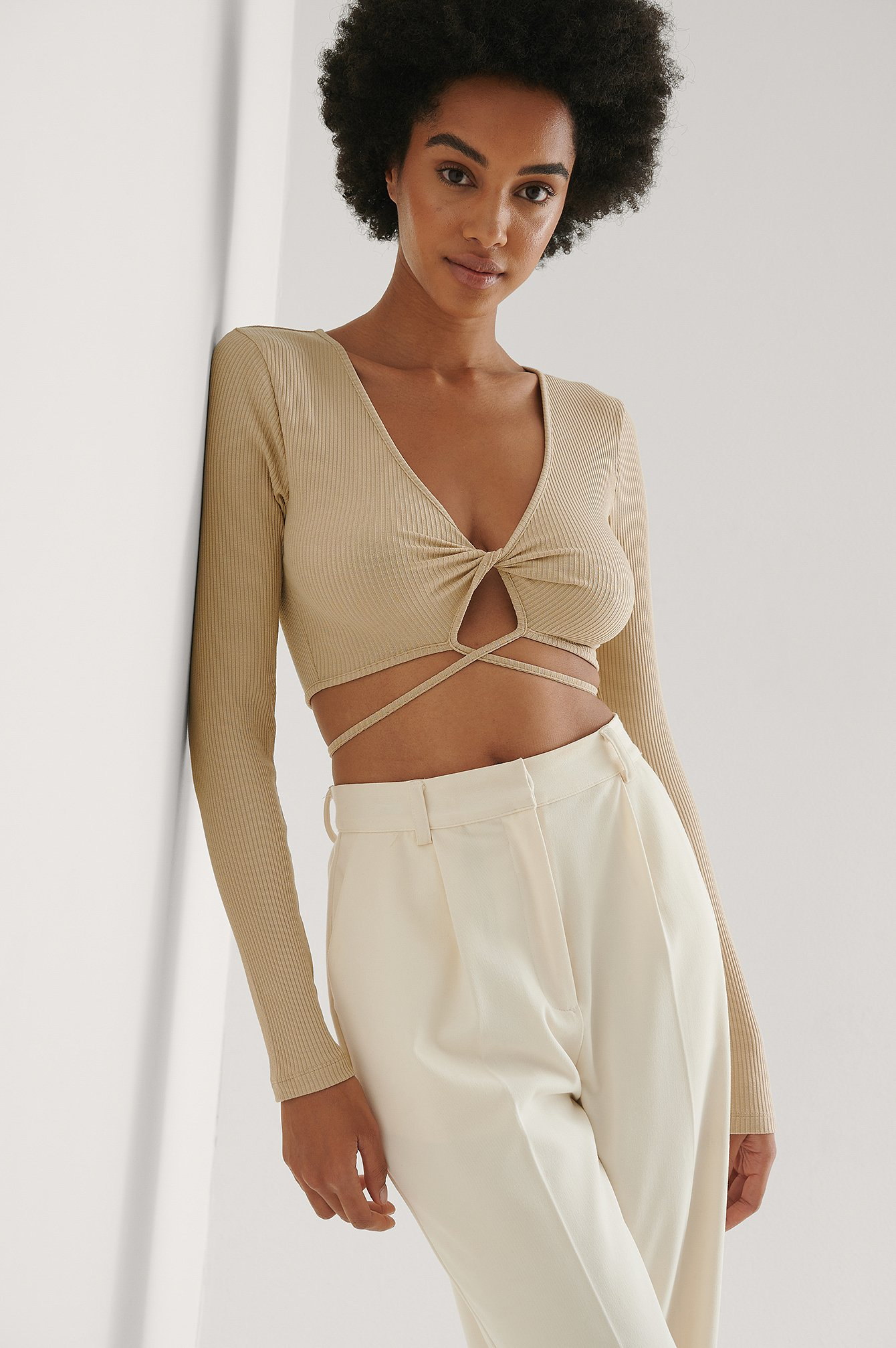 Beige Twisted Strap Rib Detail Top