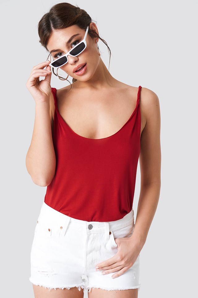 Twisted Strap Tank Top Red
