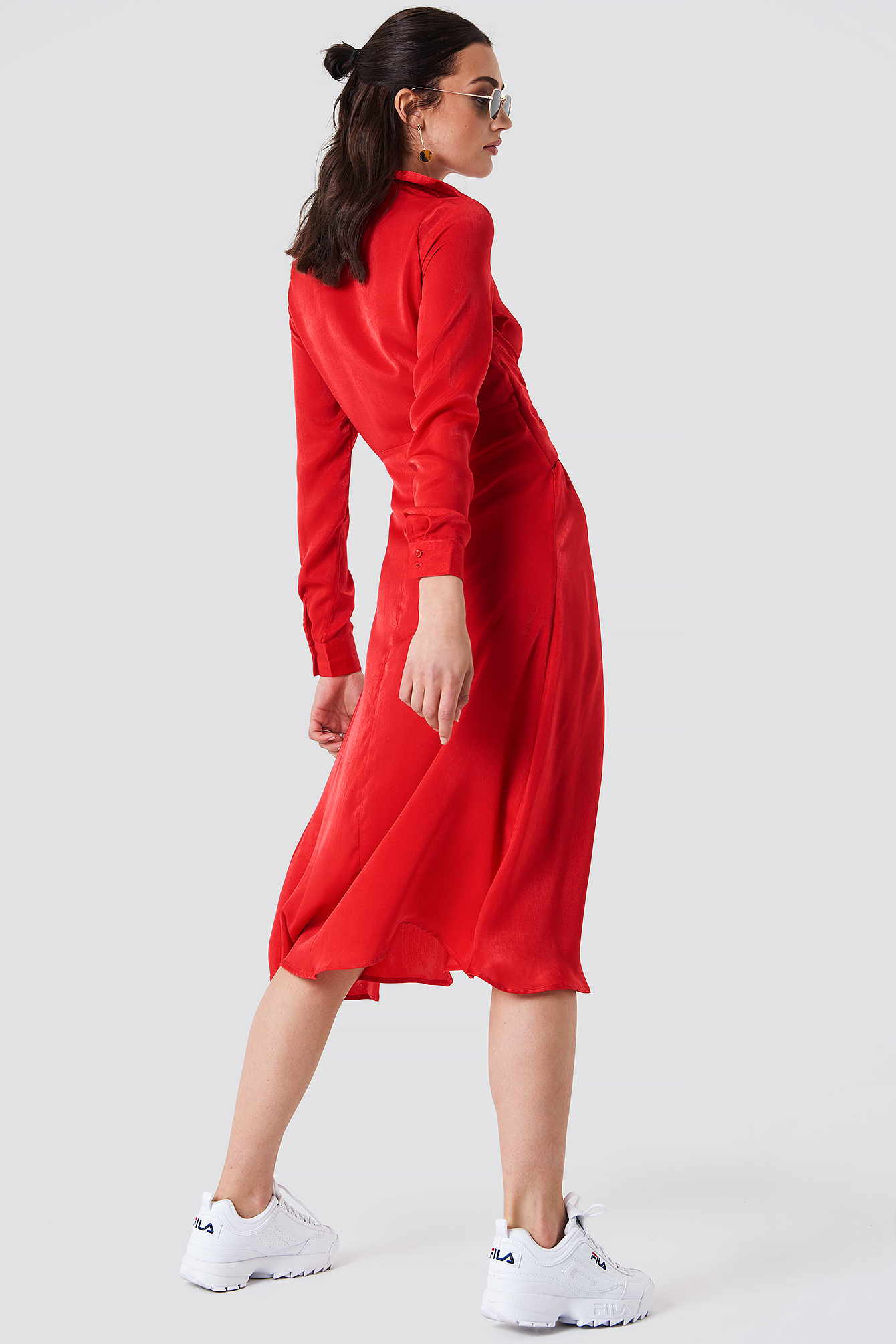Twisted Waist Shirt Midi Dress NA-KD.COM