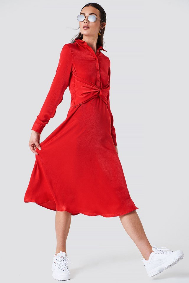 Twisted Waist Shirt Midi Dress Red