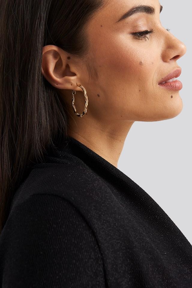 Twister Hoop Earrings Gold