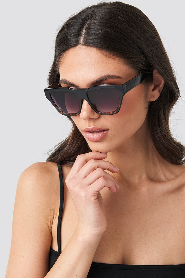 Two-Toned Shield Sunglasses Black/Brown