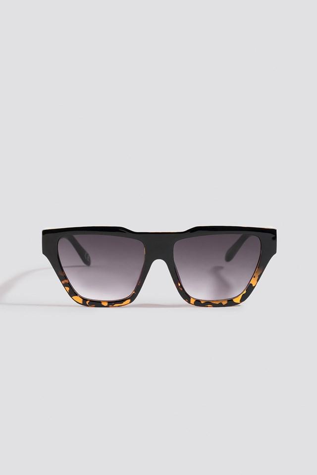 Two-Toned Shield Sunglasses Black/Brown