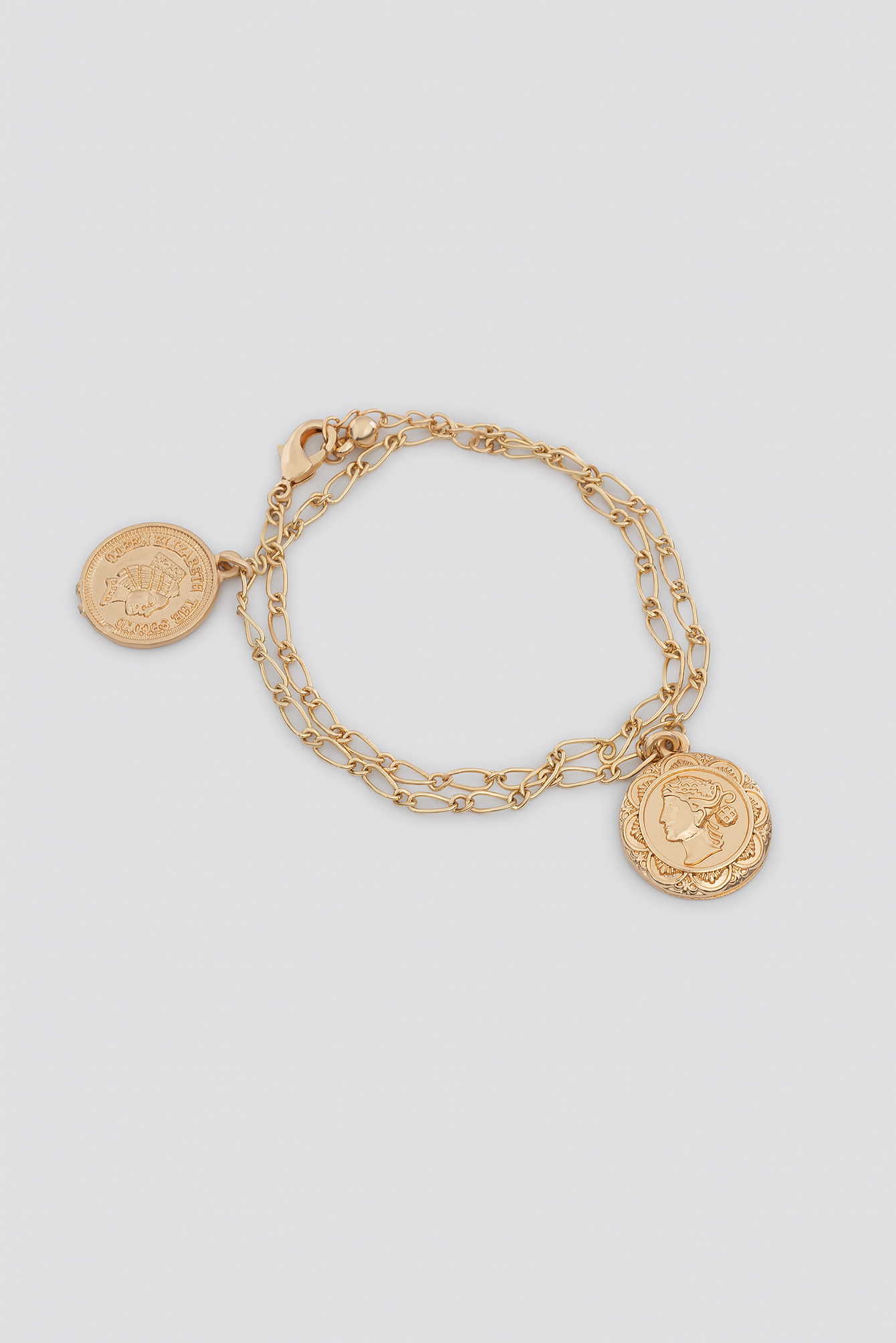 Two Coin Fine Chain Bracelet NA-KD.COM