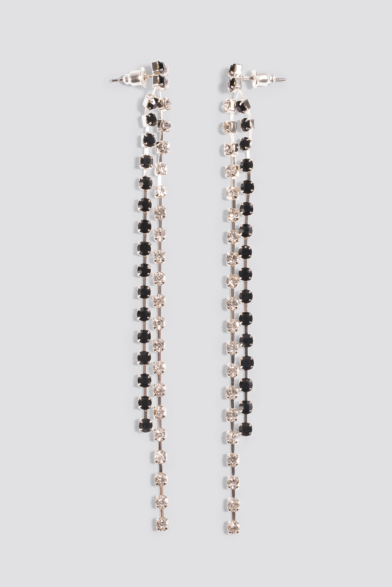 Two Color Hanging Rhinestone Earrings NA-KD.COM