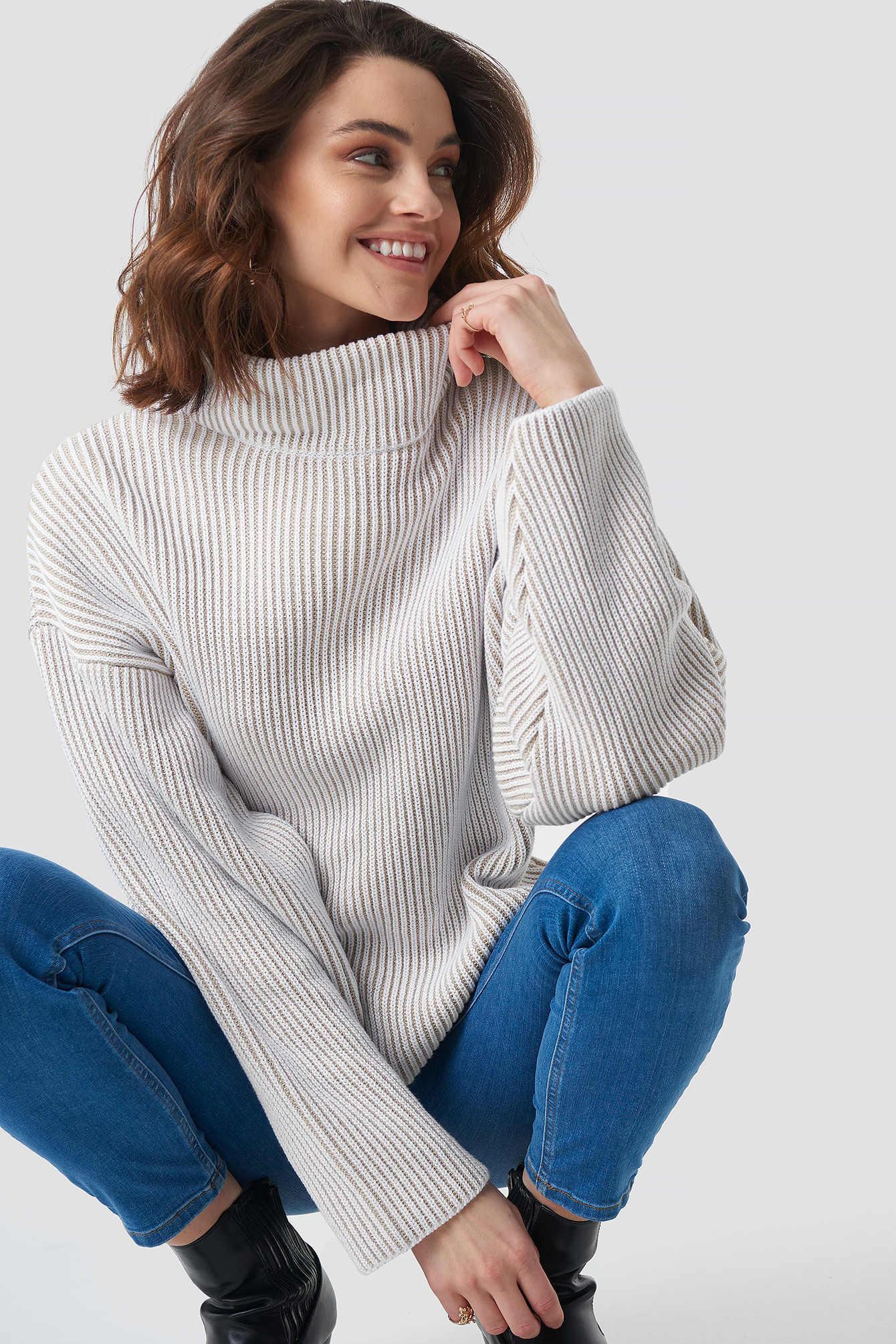 Two Colored High Neck Knitted Sweater NA-KD.COM