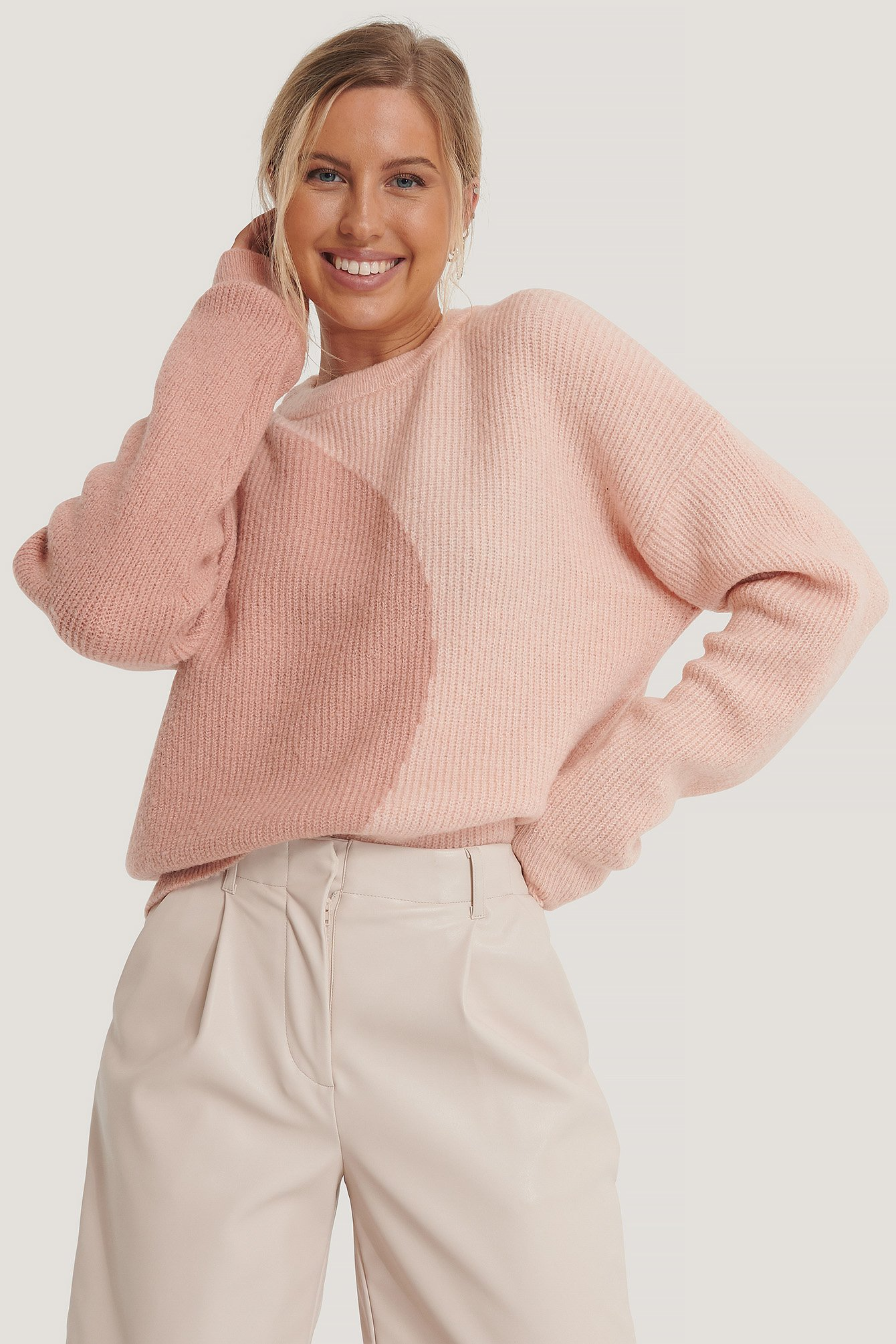 na-kd -  Zweifarbiger Strickpullover - Pink
