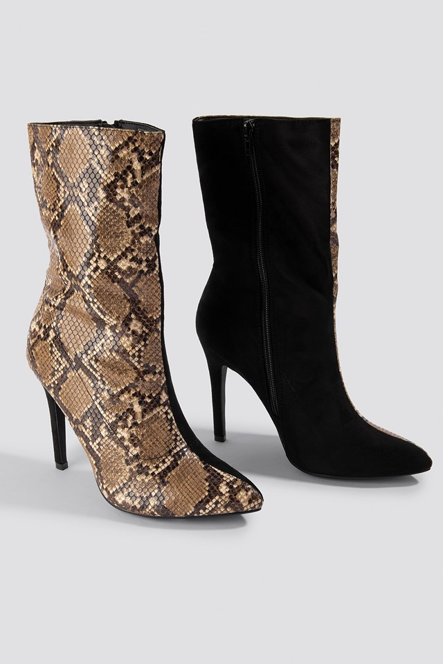 Two Colour Stiletto Boot NA-KD Shoes