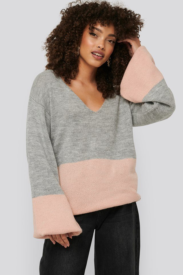 Two Coloured Puff Sleeve Sweater Grey/Pink