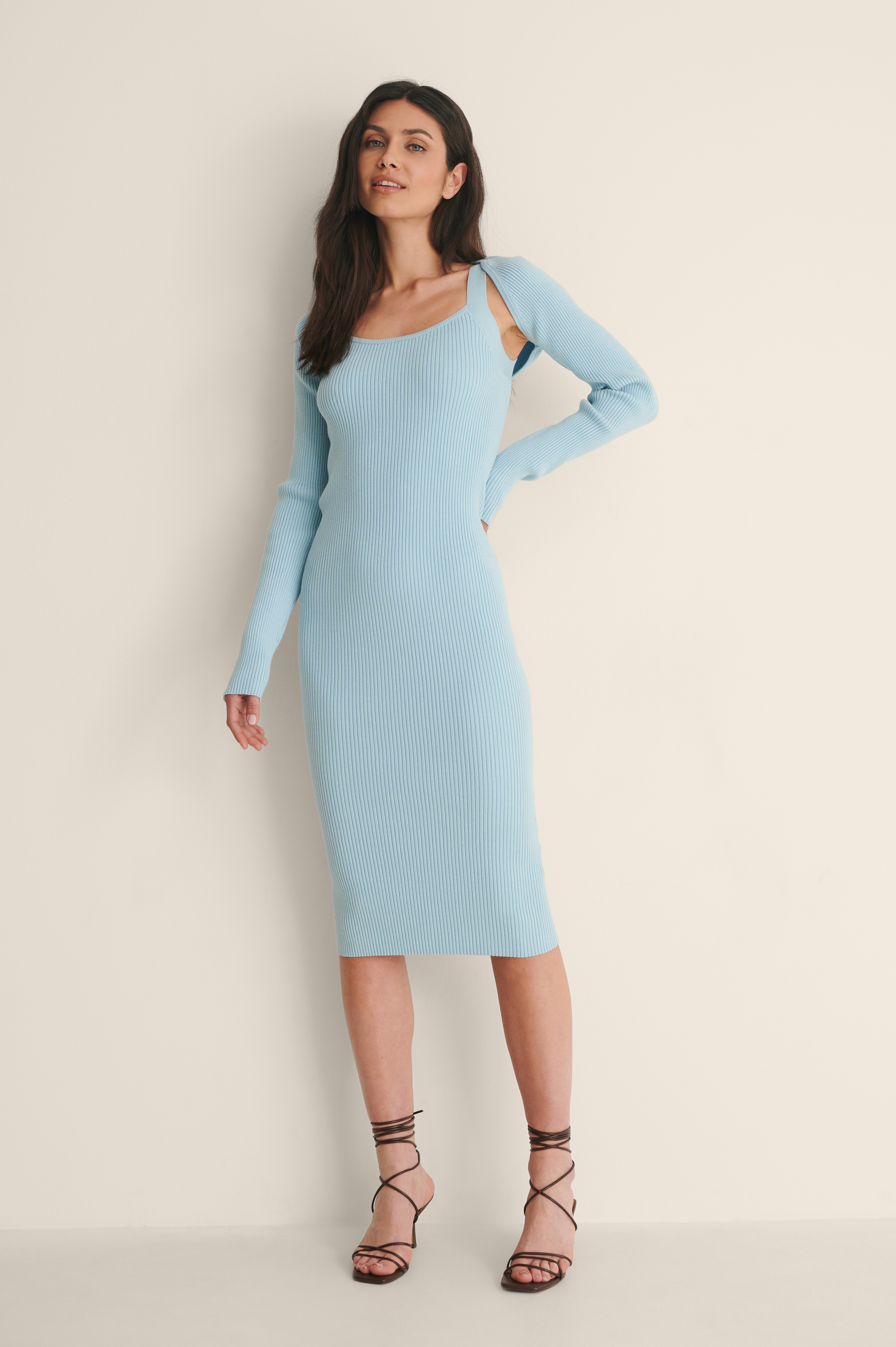 Light Blue Two Piece Knitted Dress