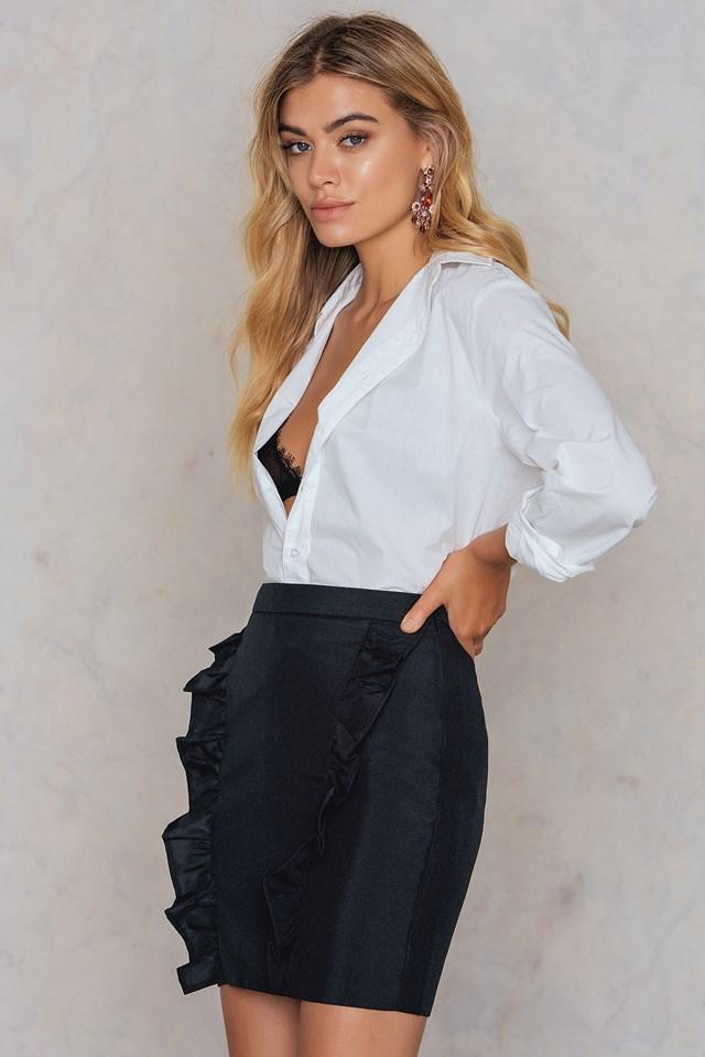 Two Side Frill Skirt Black