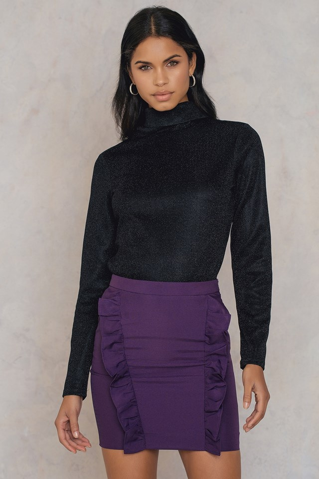 Two Side Frill Skirt Dark Purple