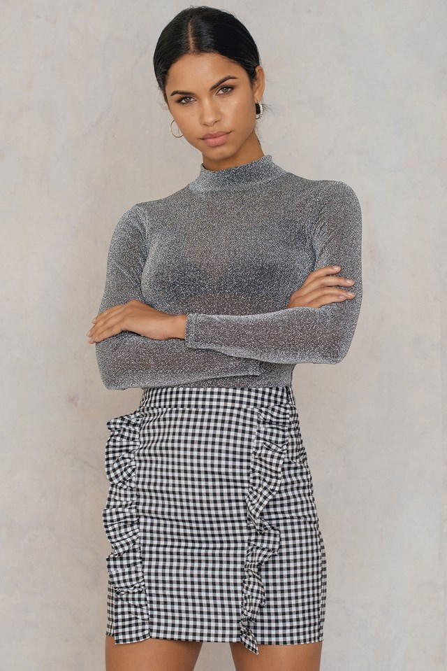 Two Side Frill Skirt Checkered