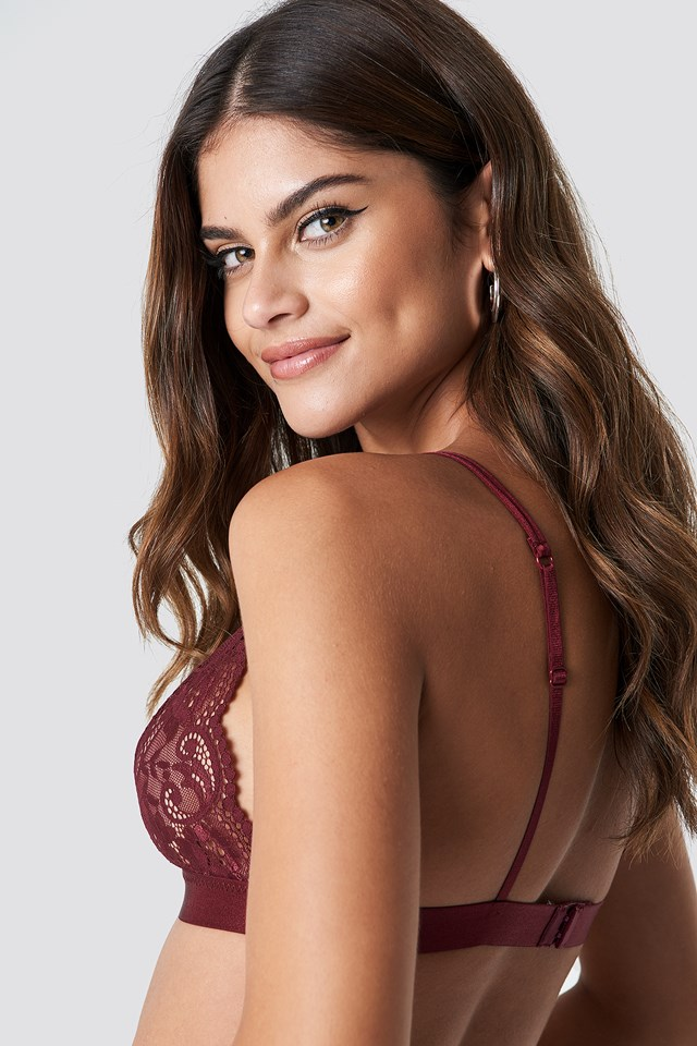 Two Strap Lace Bra Dark Red