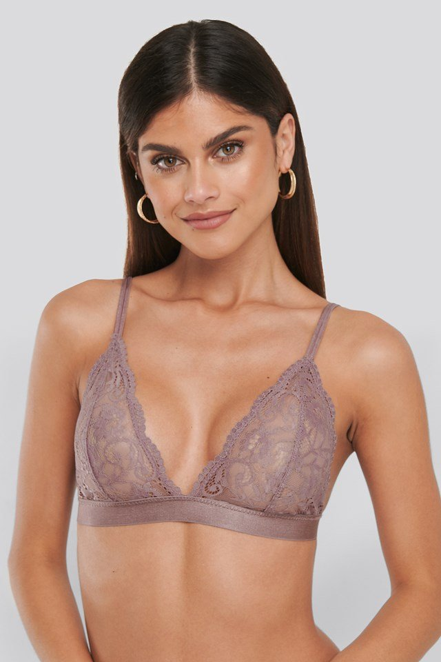 Two Strap Lace Bra Dusty Purple