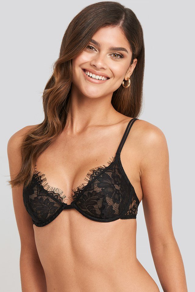 Two Strap Lace Cup Bra Black