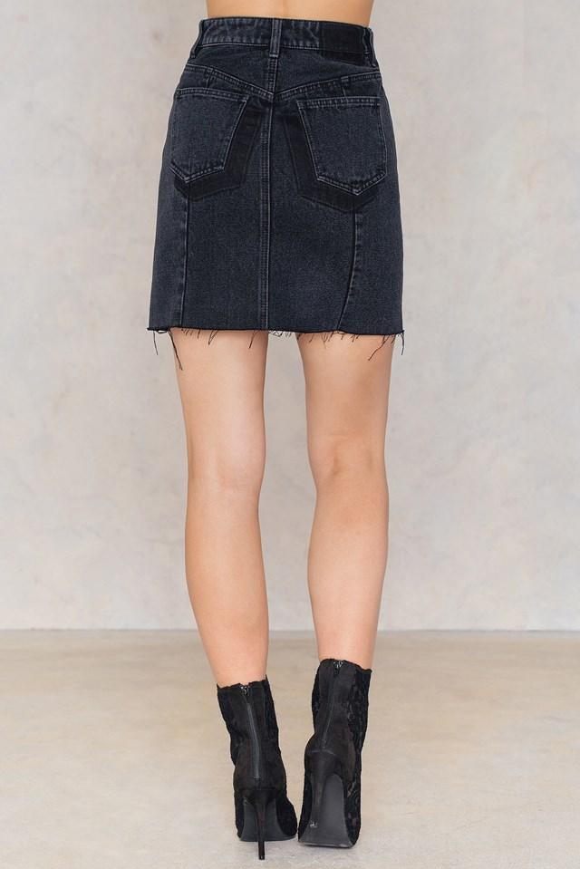 Two Tone Pocket Skirt Black