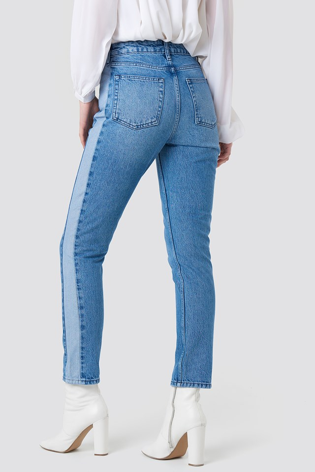 Two Tone Side Panel Jeans Mid Blue