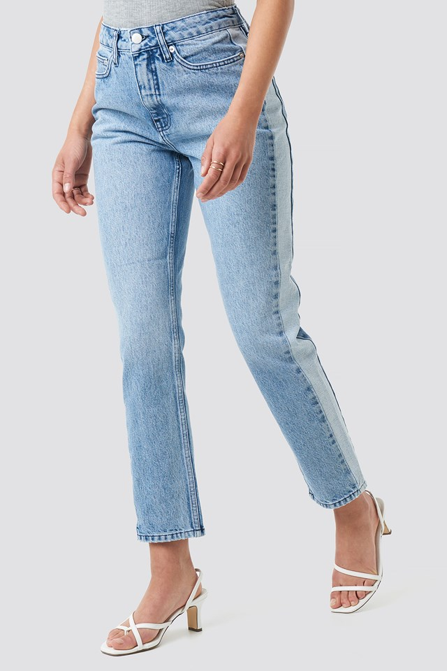Two Tone Side Panel Jeans Light Blue
