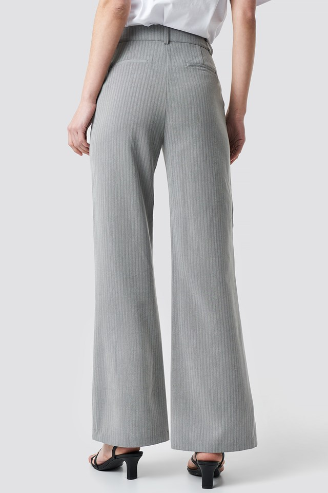 Two Tone Striped Suit Pants Grey