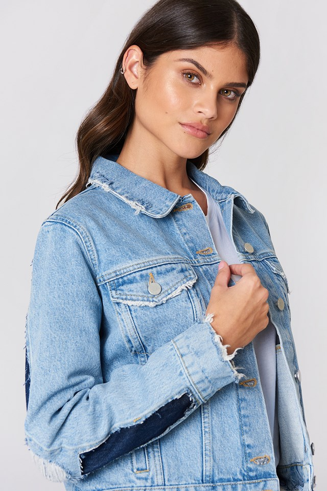 Two Toned Cut Out Sleeve Denim Jacket Light Blue