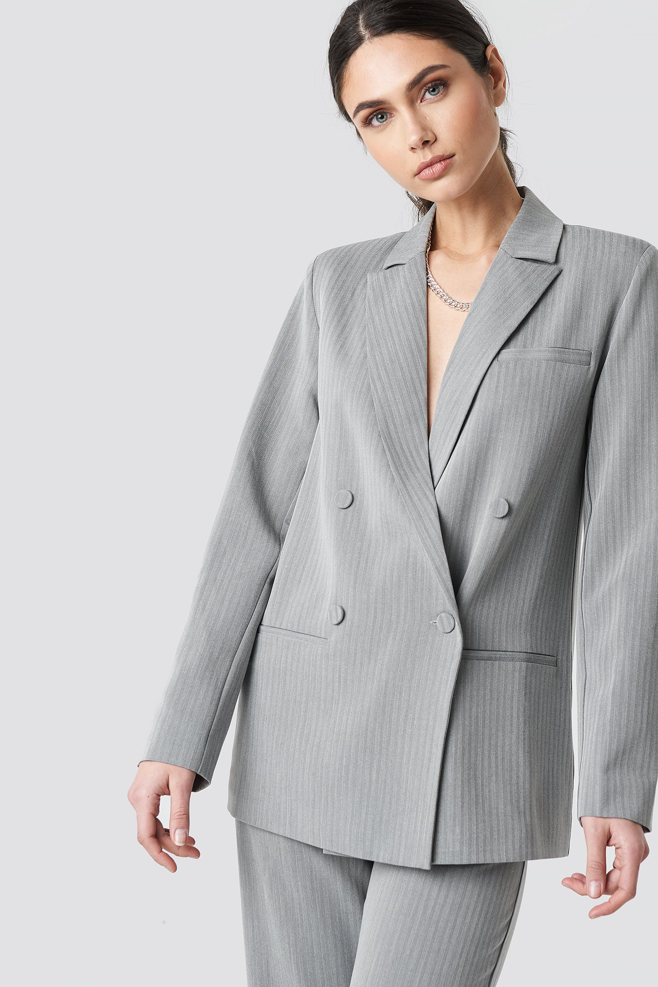 na-kd classic -  Two Tone Striped Double Breasted Blazer - Grey